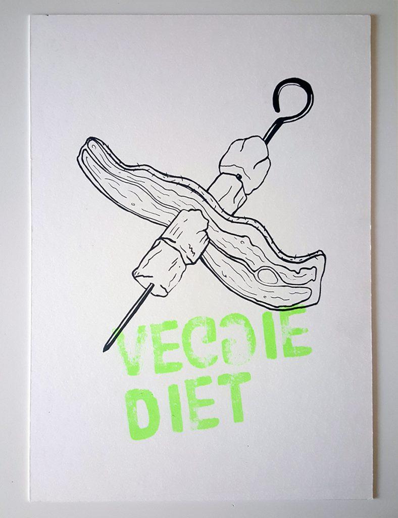 """Lámina serigrafiada a dos tintas """"Veggie Diet"""""""
