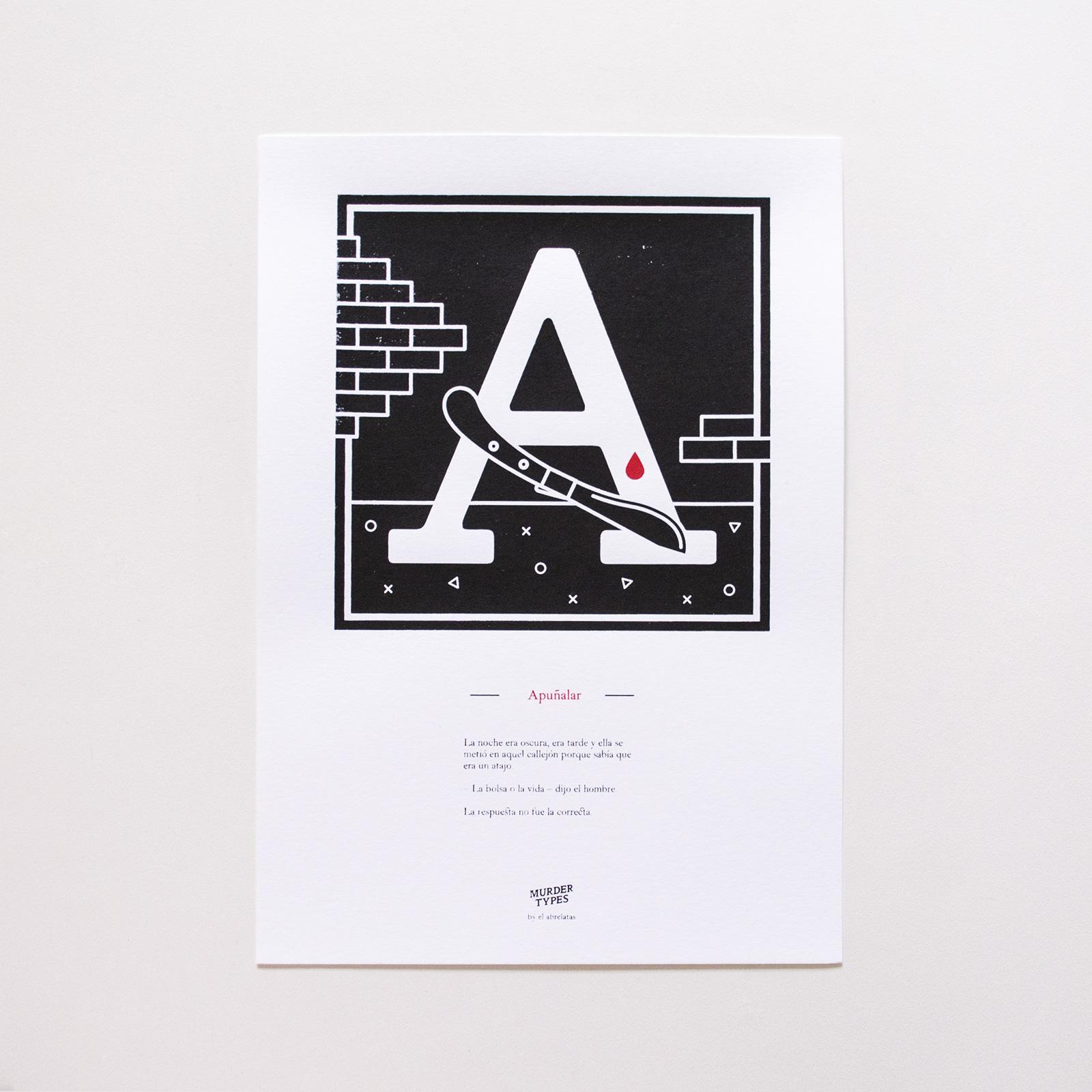 Lámina letra A - Proyecto de autoedición en serigrafía Murder Types