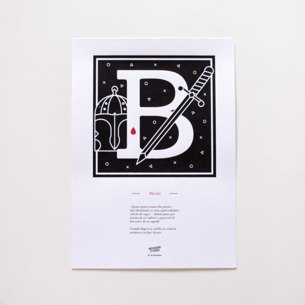 Lámina letra B - Proyecto de autoedición en serigrafía Murder Types