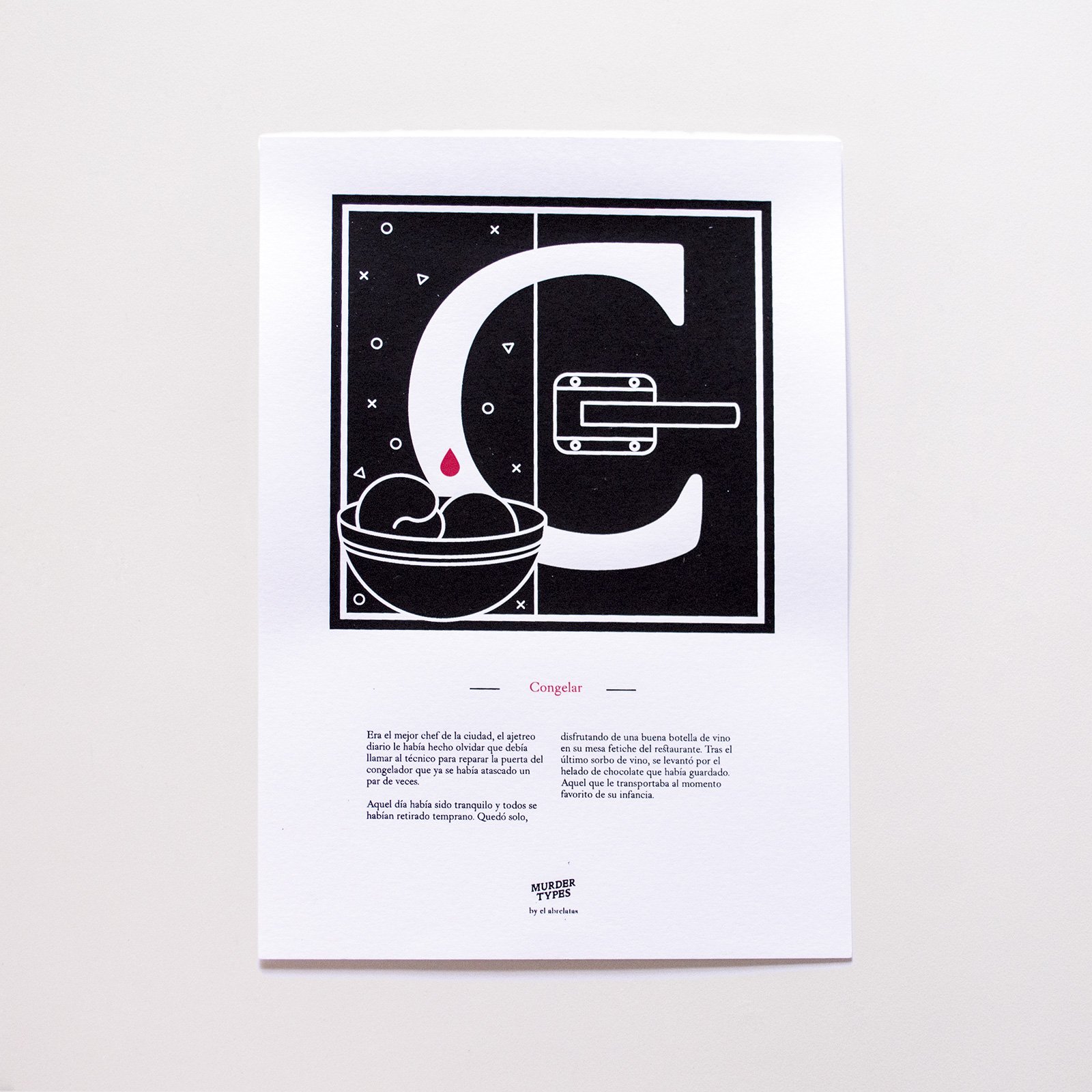 Lámina letra C - Proyecto de autoedición en serigrafía Murder Types