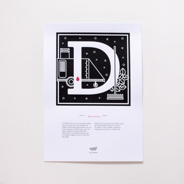 Lámina letra D - Proyecto de autoedición en serigrafía Murder Types