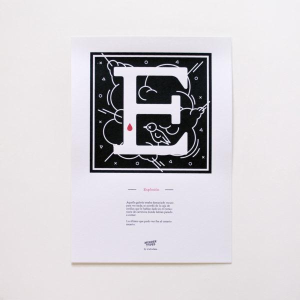 Lámina letra E - Proyecto de autoedición en serigrafía Murder Types