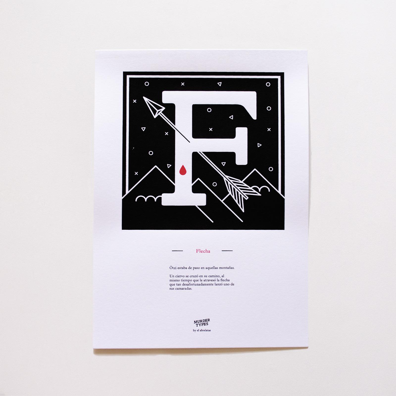 Lámina letra F - Proyecto de autoedición en serigrafía Murder Types