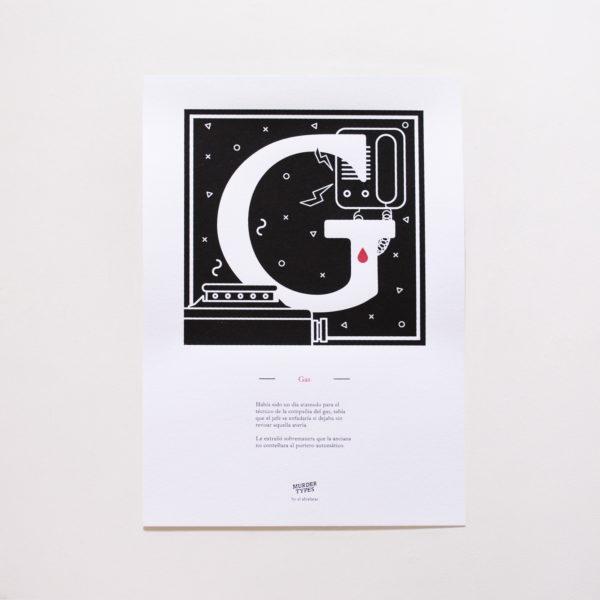 Lámina letra G - Proyecto de autoedición en serigrafía Murder Types