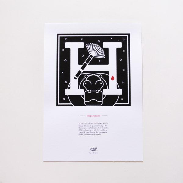 Lámina letra H - Proyecto de autoedición en serigrafía Murder Types
