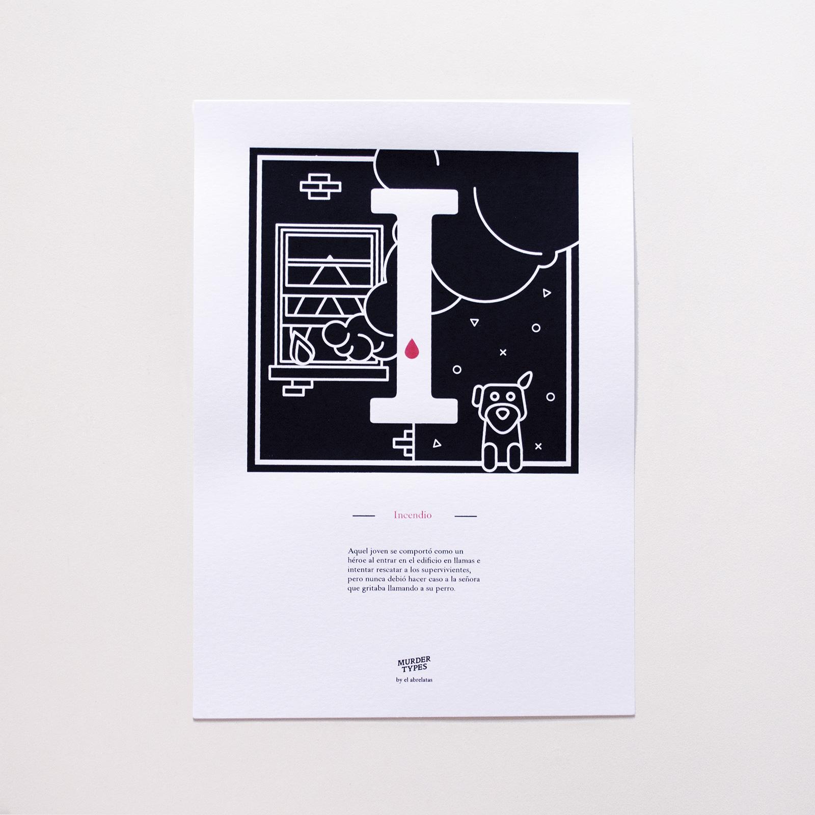 Lámina letra I - Proyecto de autoedición en serigrafía Murder Types