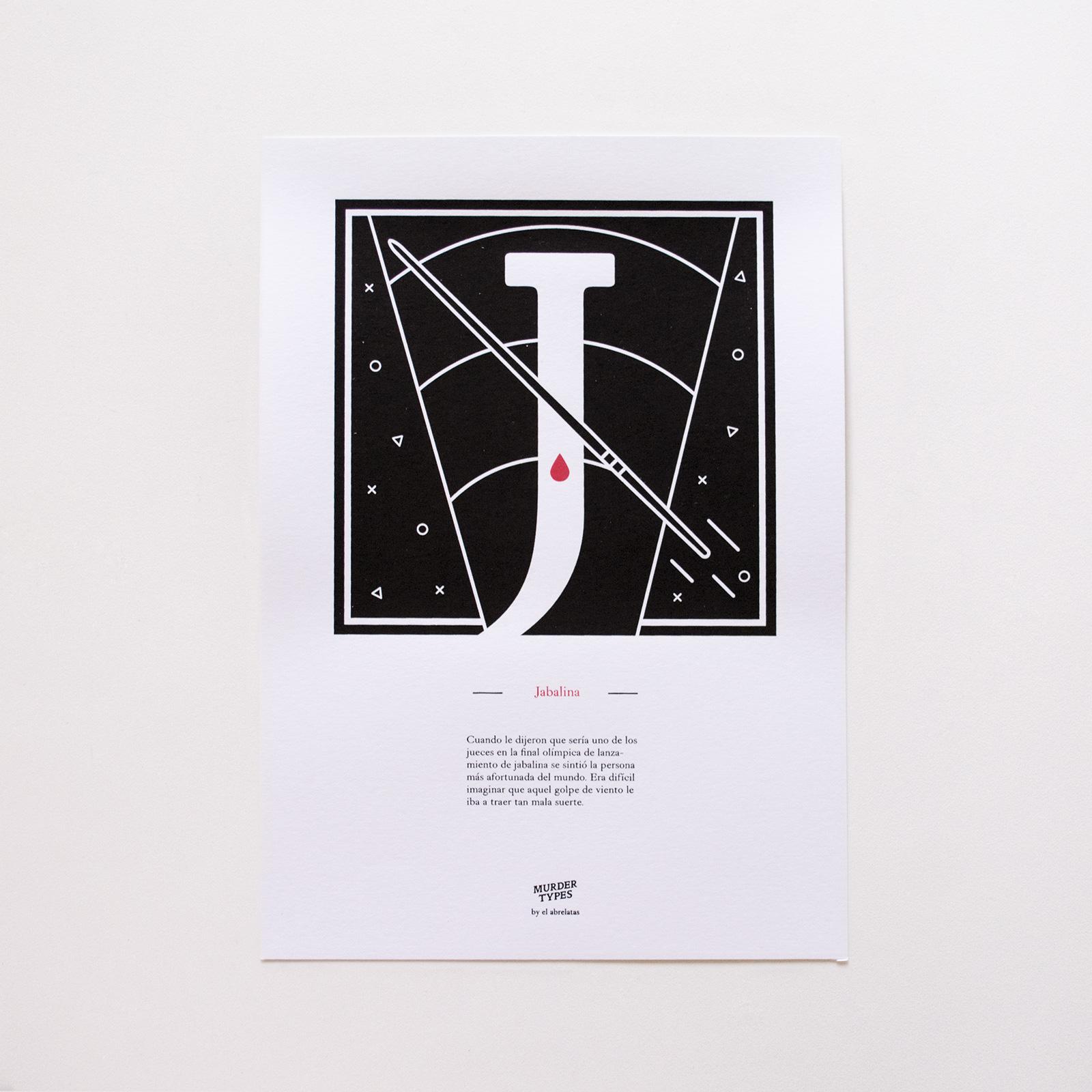 Lámina letra J - Proyecto de autoedición en serigrafía Murder Types