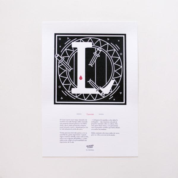 Lámina letra L - Proyecto de autoedición en serigrafía Murder Types