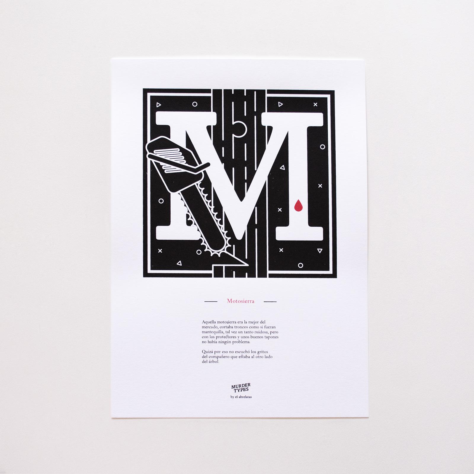 Lámina letra M - Proyecto de autoedición en serigrafía Murder Types