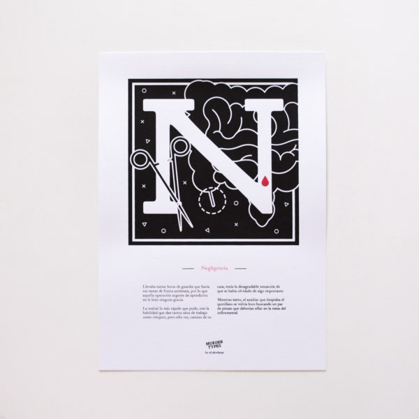 Lámina letra N - Proyecto de autoedición en serigrafía Murder Types