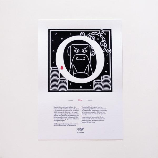 Lámina letra O - Proyecto de autoedición en serigrafía Murder Types