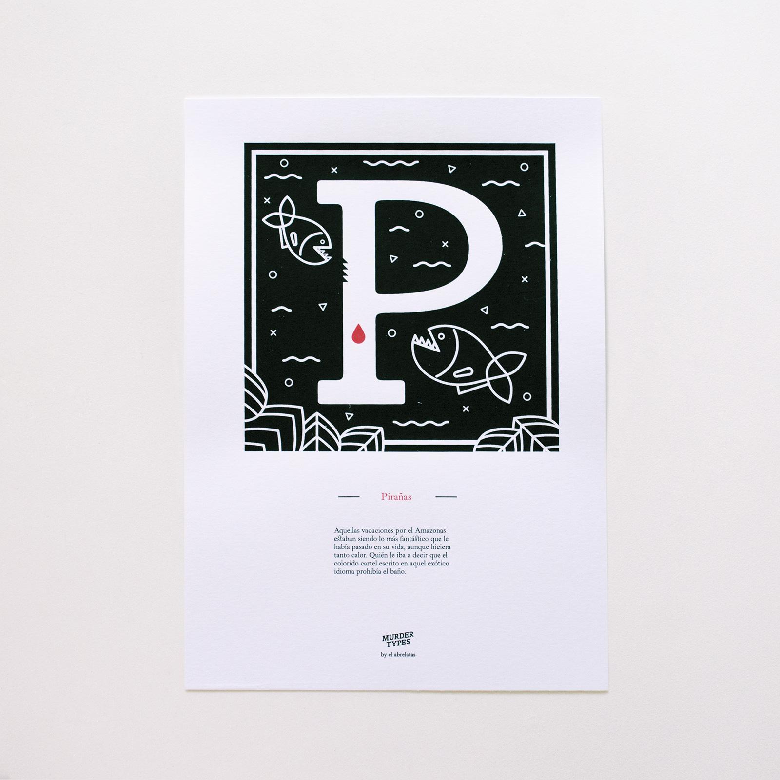 Lámina letra P - Proyecto de autoedición en serigrafía Murder Types