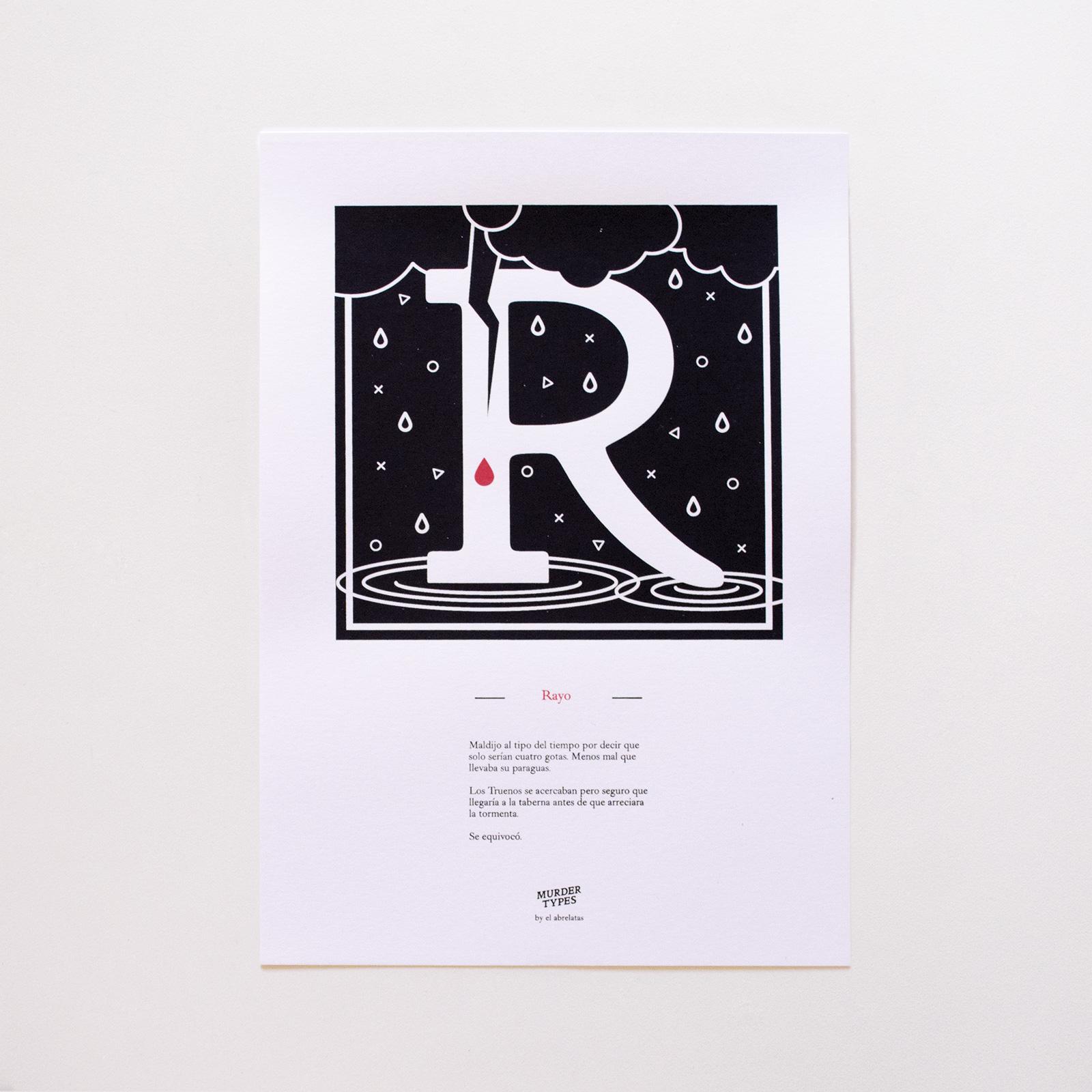 Lámina letra R - Proyecto de autoedición en serigrafía Murder Types