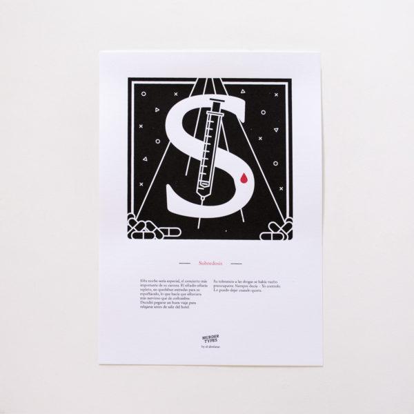 Lámina letra S - Proyecto de autoedición en serigrafía Murder Types