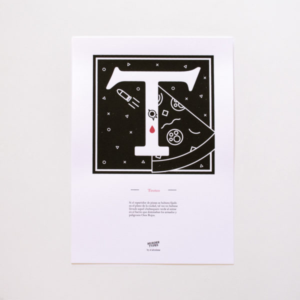 Lámina letra T - Proyecto de autoedición en serigrafía Murder Types