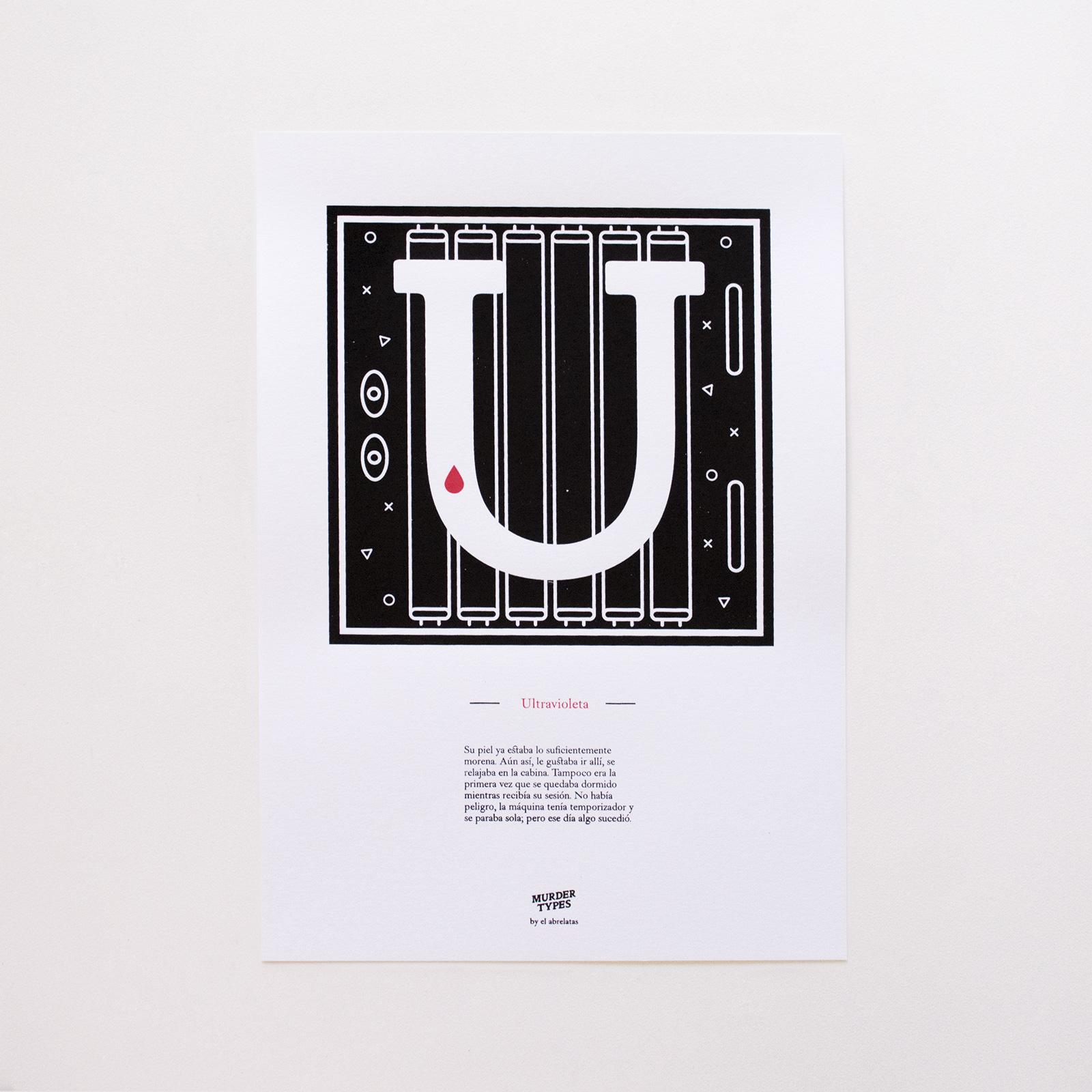 Lámina letra U - Proyecto de autoedición en serigrafía Murder Types