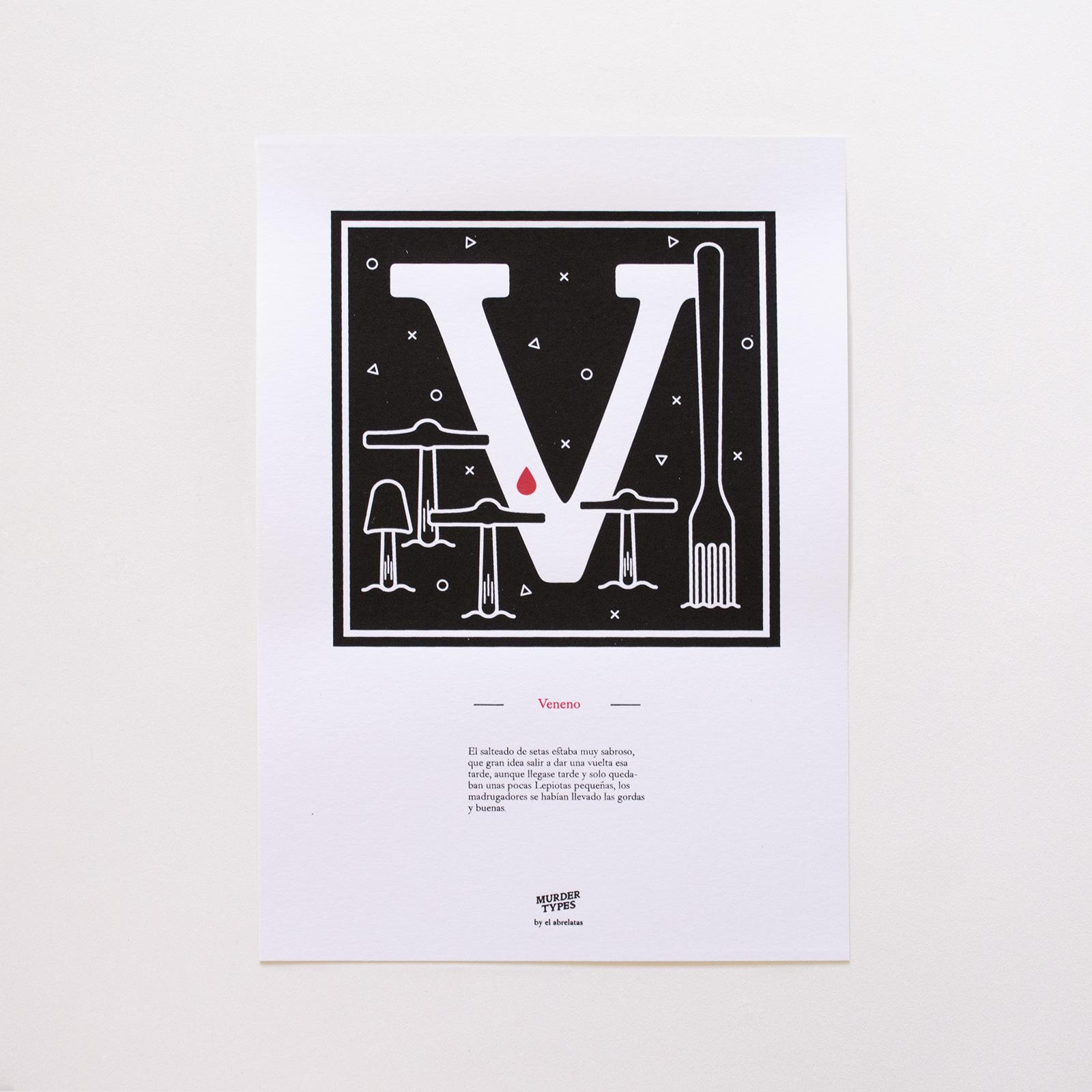 Lámina letra V - Proyecto de autoedición en serigrafía Murder Types