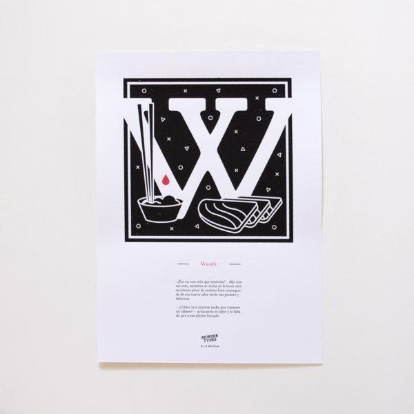 Lámina letra W - Proyecto de autoedición en serigrafía Murder Types