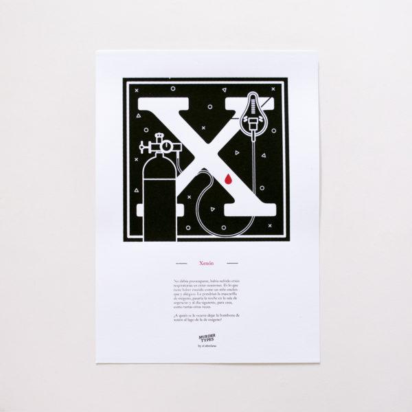 Lámina letra X - Proyecto de autoedición en serigrafía Murder Types
