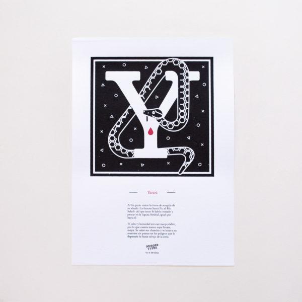 Lámina letra Y - Proyecto de autoedición en serigrafía Murder Types