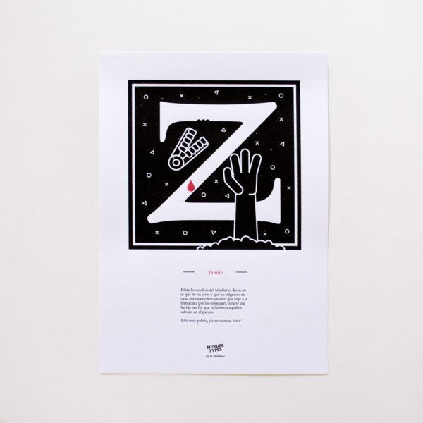 Lámina letra Z - Proyecto de autoedición en serigrafía Murder Types