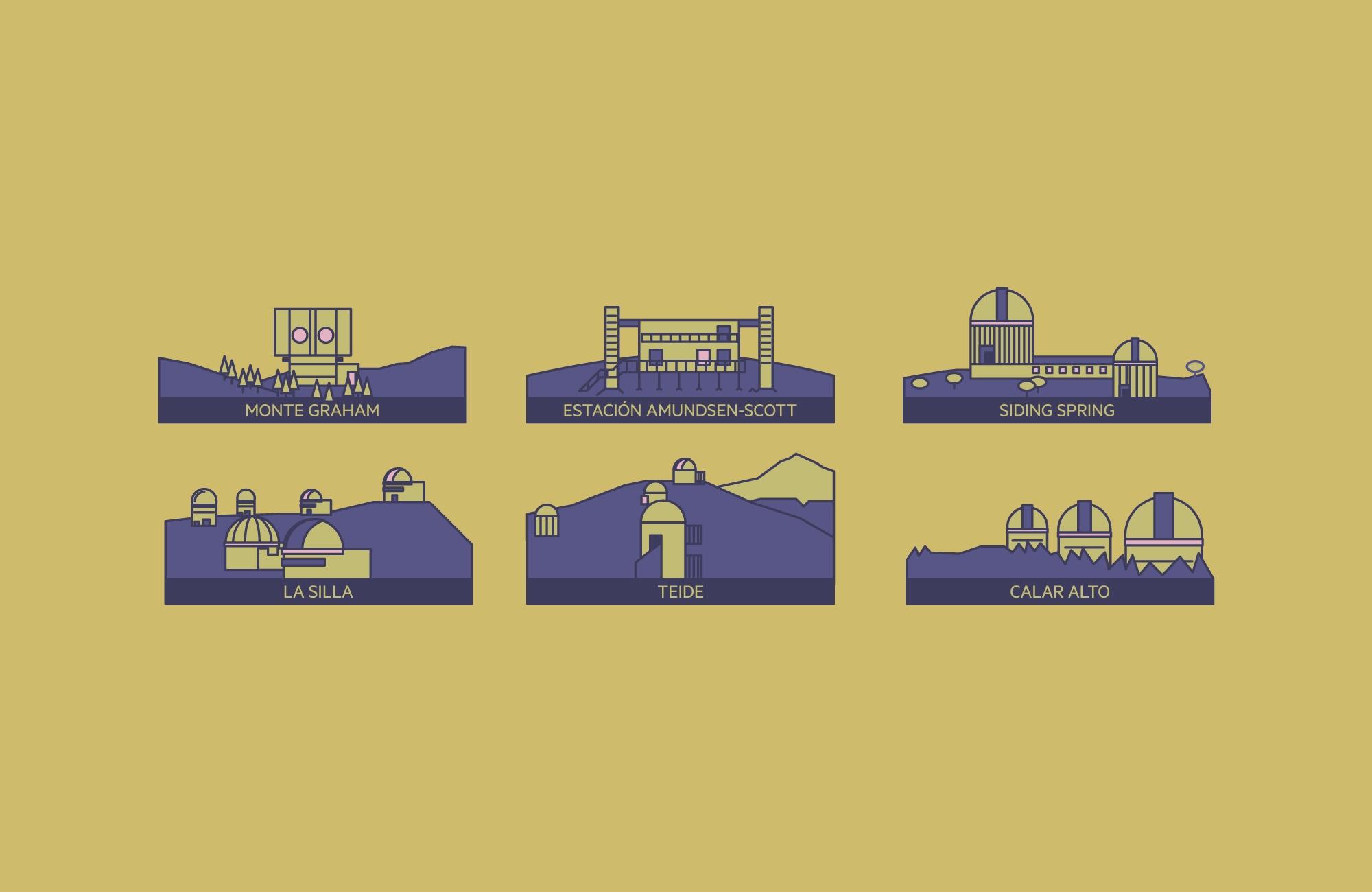 Ilustración de observatorios para la infografía Los que todo lo ven para Principia Magazine