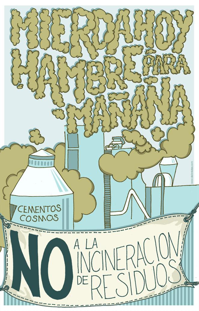 Ilustración Mierda hoy, hambre para mañana contra la incineración de residuos en Cementos Cosmos