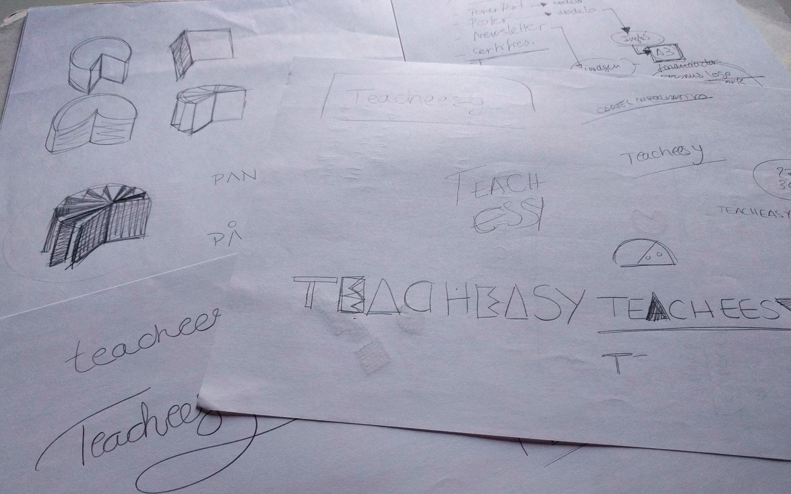 Pruebas y bocetos para marca Teacheesy